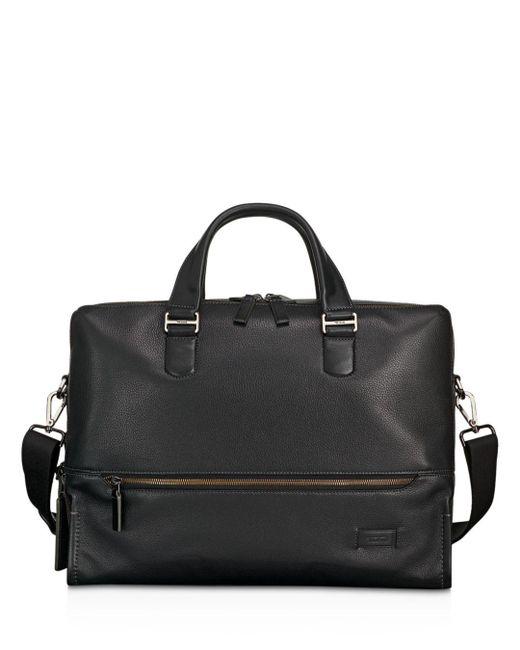 Tumi - Black Harrison Leather Horton Double Zip Briefcase for Men - Lyst