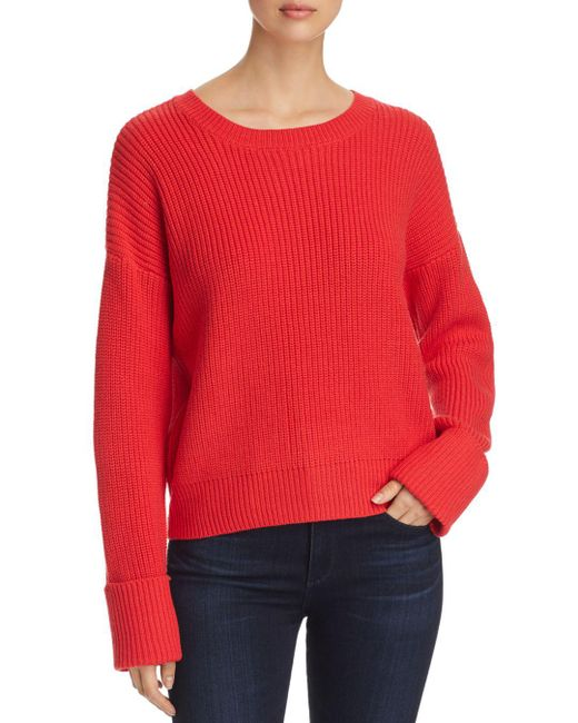 Kenneth Cole - Red Crewneck Shaker-stitch Sweater - Lyst