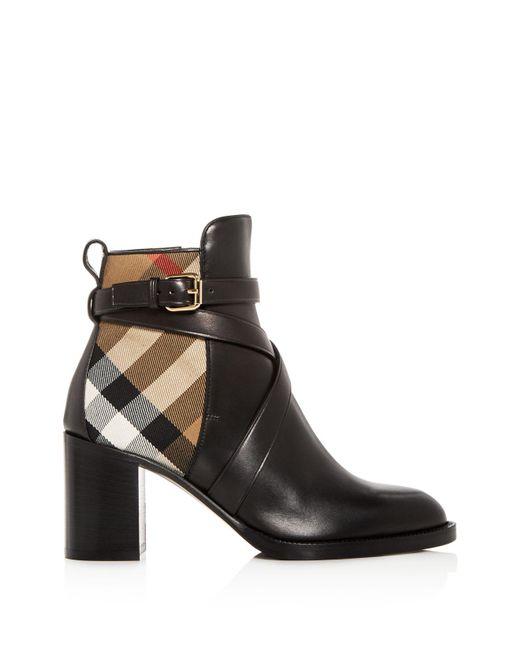 Burberry Women's Vaughan Vintage Check & Leather Block Heel Booties vIrf4LCM7U