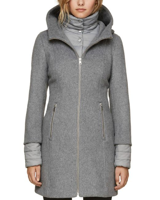 SOIA & KYO - Gray Rooney Hooded Mixed Media Coat - Lyst
