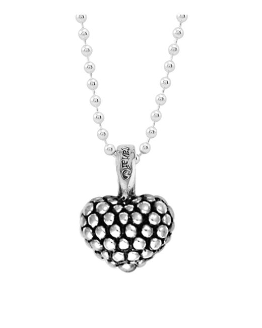 Lagos - Metallic Sterling Silver Beaded Heart Pendant Necklace - Lyst