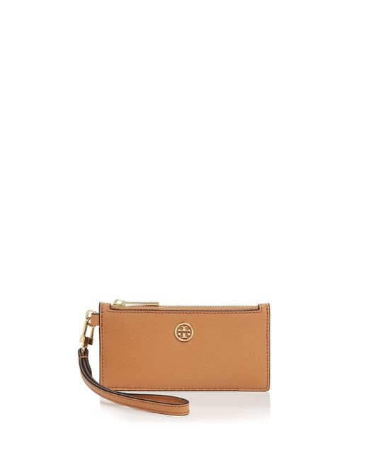 Tory Burch | Brown Parker Zip Leather Card Case | Lyst