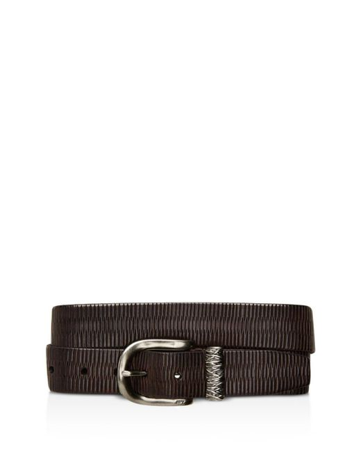 John Varvatos - Brown Etched Belt With Metal Keeper for Men - Lyst
