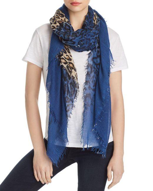 Zadig & Voltaire - Blue Delta Leopard Color Block Scarf - Lyst