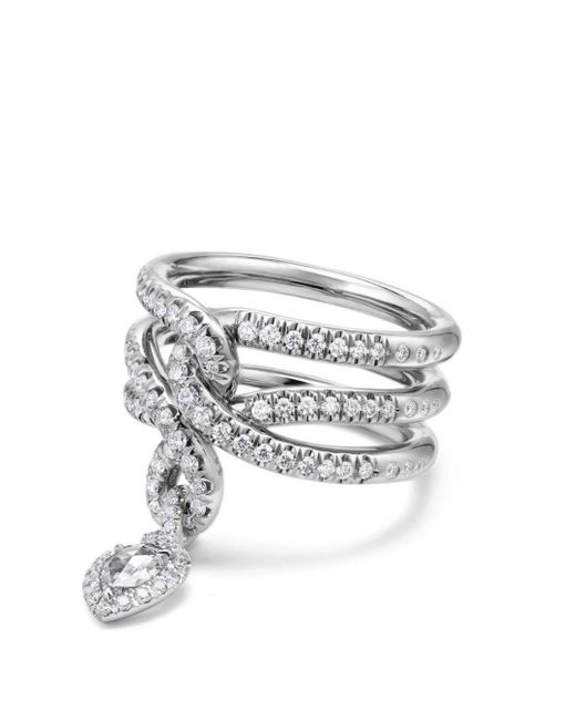 David Yurman - White Continuance Drop Ring With Diamonds In 18k Gold - Lyst