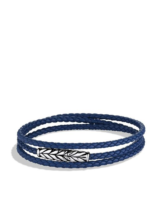 David Yurman | Metallic Chevron Triple-wrap Bracelet In Blue | Lyst