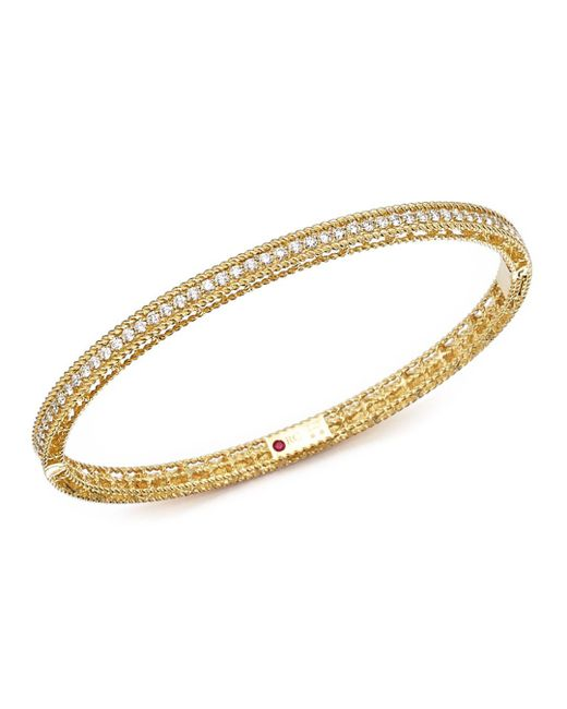 Roberto Coin - Metallic 18k Yellow Gold Symphony Braided Bangle Bracelet With Diamonds - Lyst