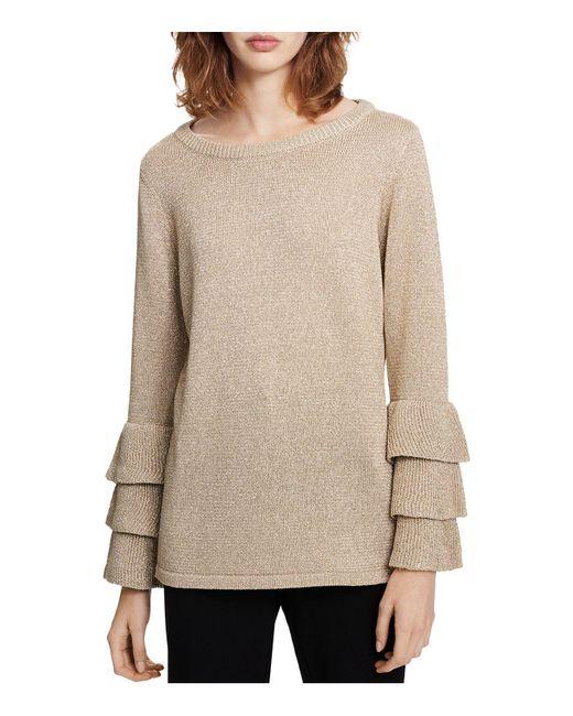 Calvin Klein   Metallic Ruffled-sleeve Sweater   Lyst