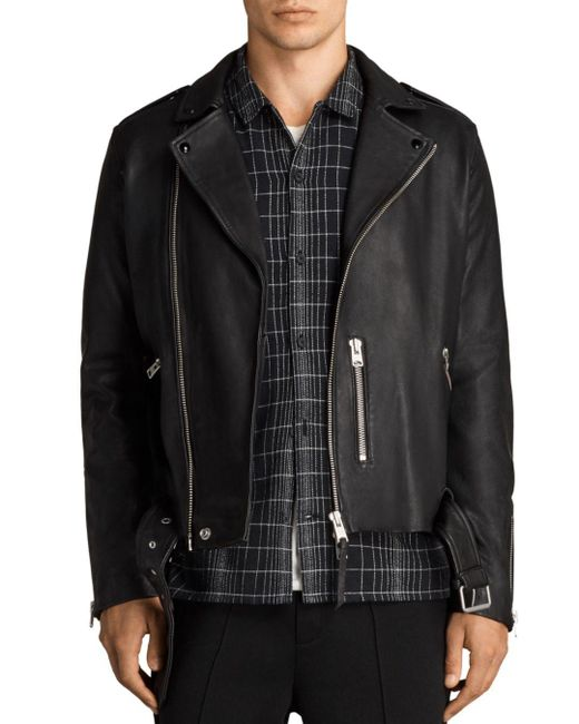 AllSaints - Black Kaho Biker Jacket for Men - Lyst