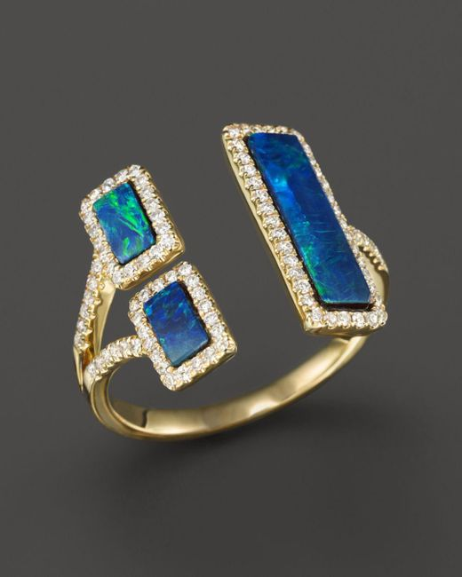 Meira T - Metallic Yellow Gold Opal Double Bar Open Ring - Lyst