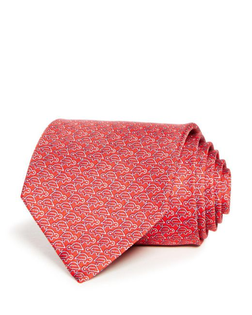 Ferragamo - Red Fast Turtle Print Classic Tie for Men - Lyst