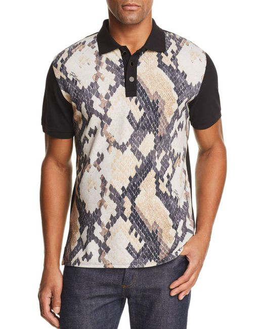 dfe749fd Just Cavalli Color-block Snake-print Polo Shirt in Black for Men - Lyst