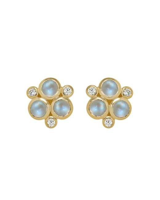Temple St. Clair - Classic Trio Earrings With Royal Blue Moonstone And Diamonds In 18k Yellow Gold - Lyst