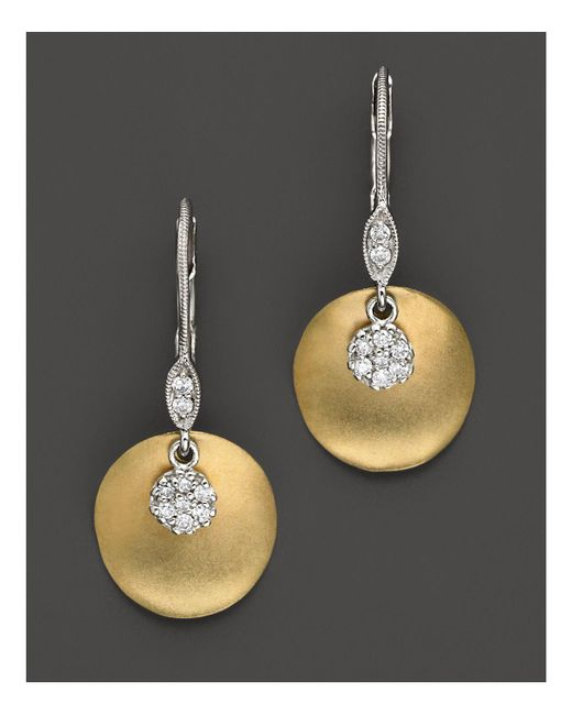 Meira T | Metallic 14 Kt. Yellow Gold/diamond Drop Earrings | Lyst