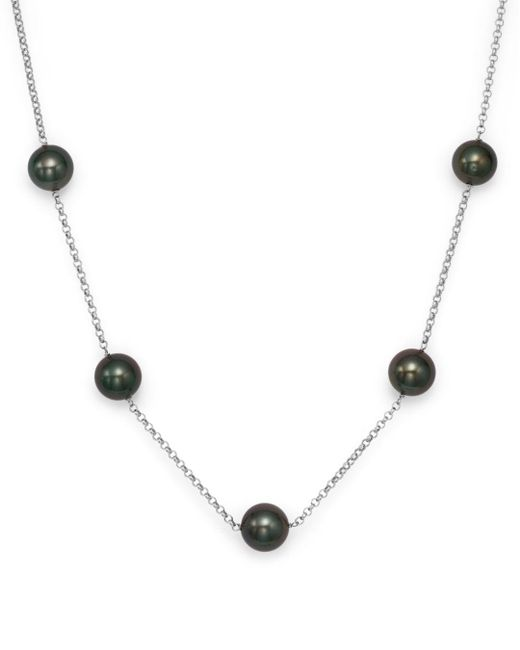 """Bloomingdale's - Cultured Tahitian Black Pearl Tin Cup Necklace In 14k White Gold, 18"""" - Lyst"""