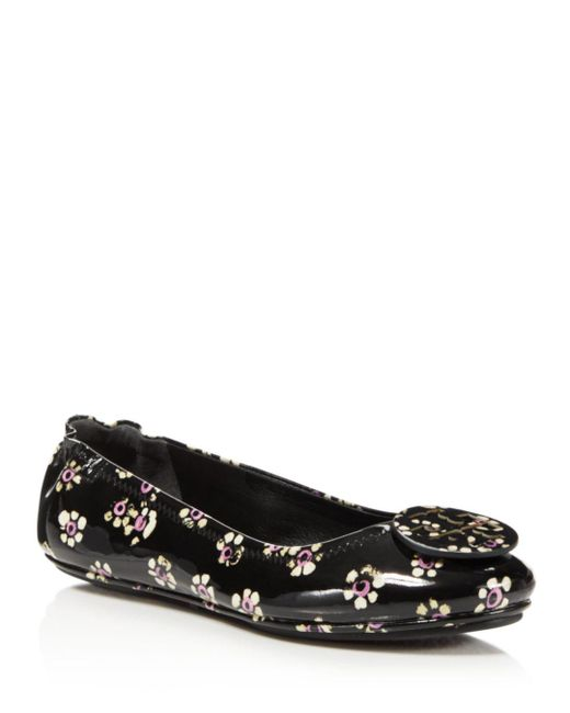 Tory Burch - Black Women's Minnie Patent Leather Travel Ballet Flats - Lyst