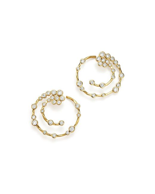 Ippolita | Metallic 18k Yellow Gold Glamazon® Stardust Open Hoop Earrings With Diamonds | Lyst