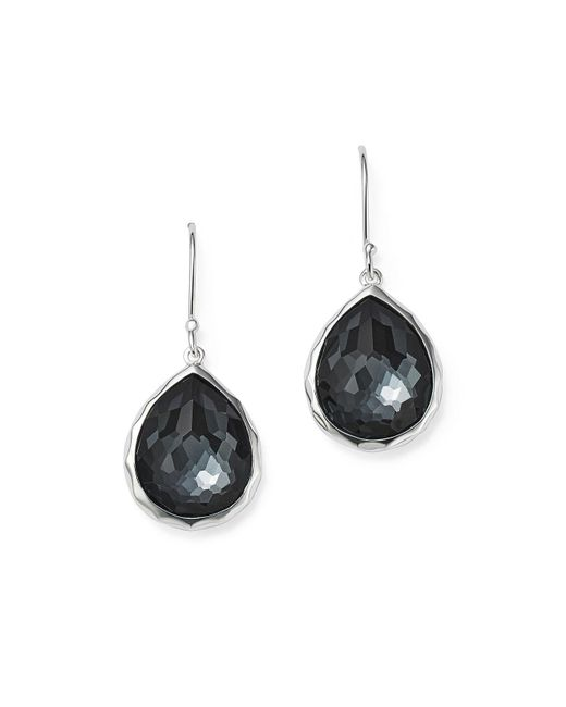 Ippolita | Metallic Sterling Silver Wonderland Hematite And Clear Quartz Doublet Mini Teardrop Earrings | Lyst