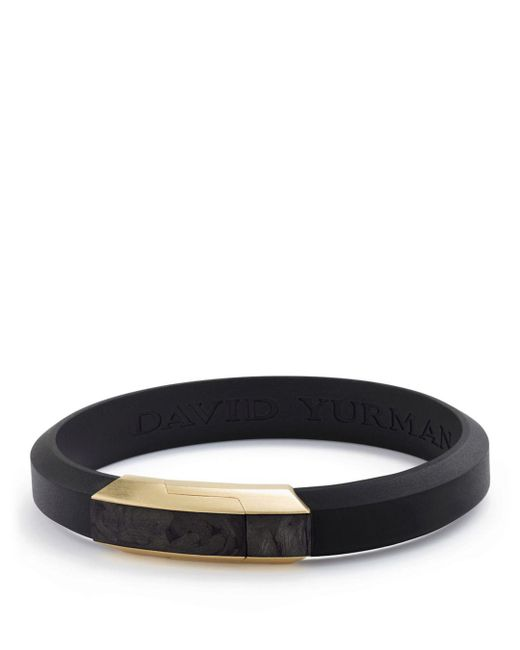 David Yurman - Black Men's Forged Carbon Rubber Id Bracelet With 18k Gold for Men - Lyst