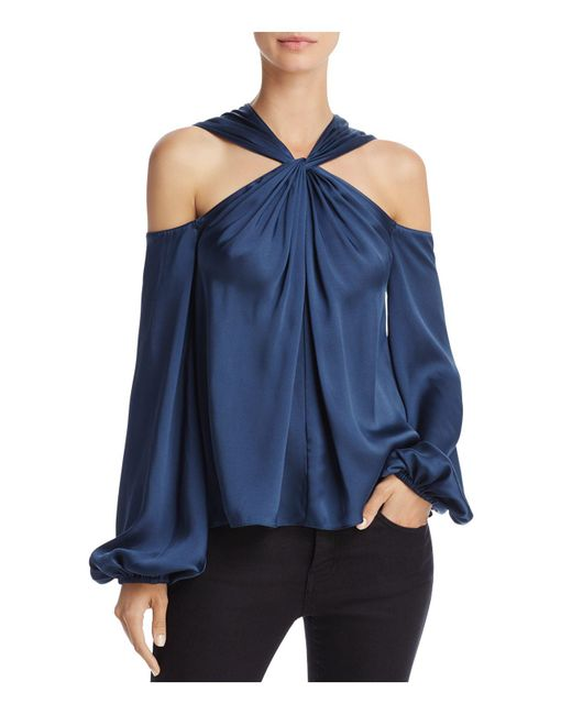 Elizabeth and James | Blue Minnie Twist-front Cold-shoulder Top | Lyst