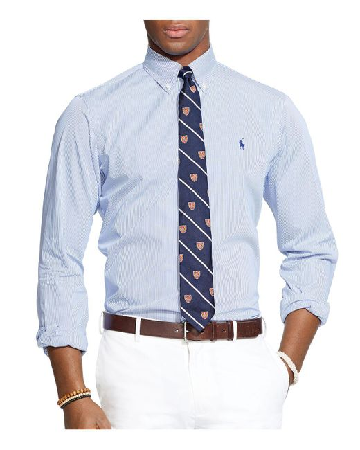 Polo Ralph Lauren - Blue Hairline-striped Poplin Button-down Shirt - Classic Fit for Men - Lyst