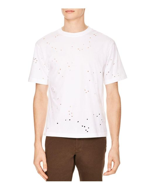 Sandro | White Destroyer Tee for Men | Lyst