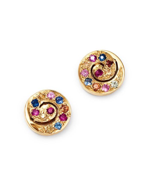 Shebee - Metallic 14k Yellow Gold Ombré Sapphire Spiral Stud Earrings - Lyst