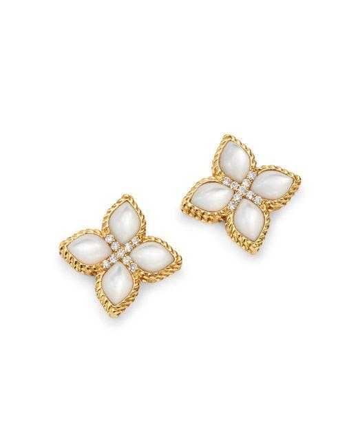 Roberto Coin - Metallic 18k Yellow Gold Venetian Princess Mother-of-pearl & Diamond Earrings - Lyst