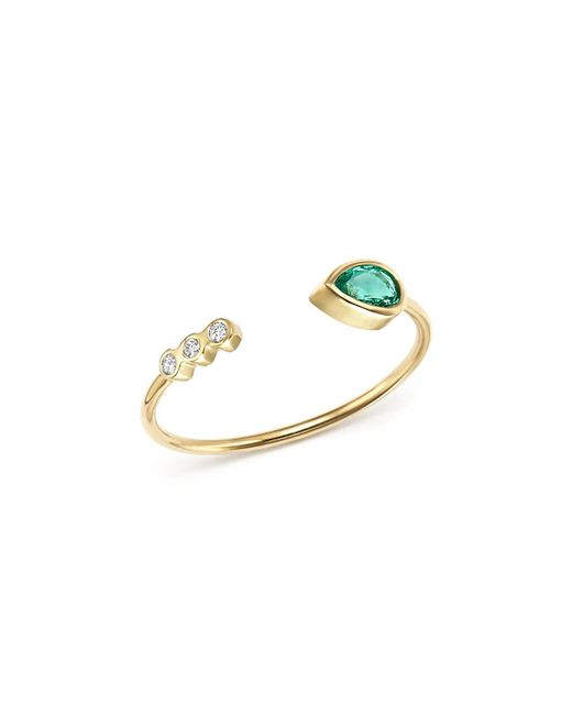 Zoe Chicco - Metallic 14k Yellow Gold Diamond Bezel & Gemfields Pear-cut Emerald Bypass Ring - Lyst
