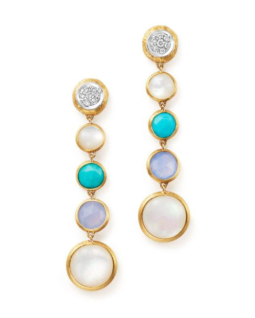 Marco Bicego - Metallic 18k Yellow Gold Jaipur Multi Stone Drop Earrings With Diamonds - Lyst