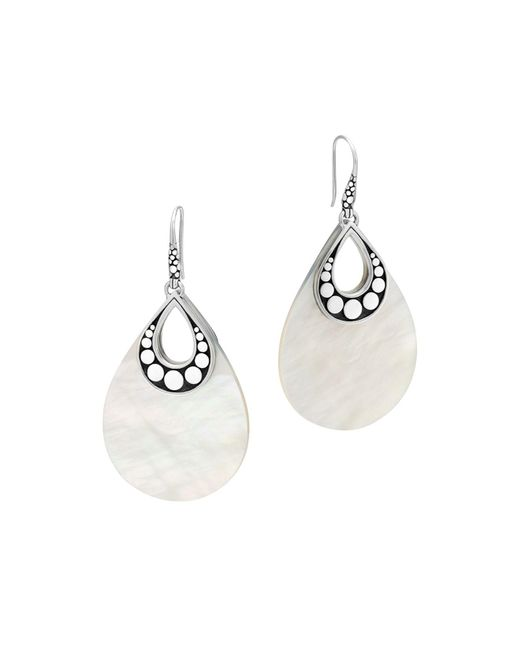 John Hardy - White Sterling Silver Dot Drop Earrings With Mother-of-pearl - Lyst