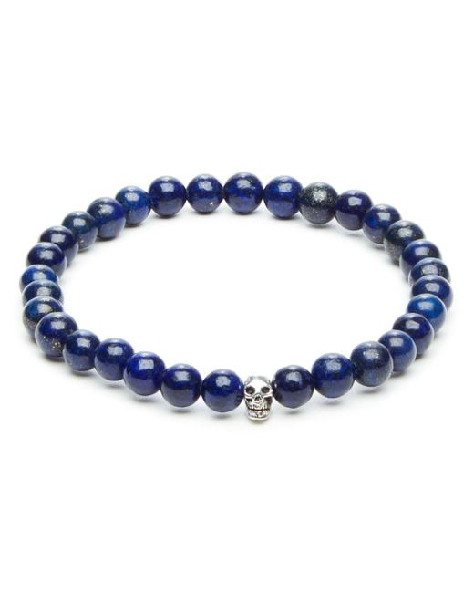 Link Up Blue Lapis Bead & Skull Charm Stretch Bracelet for men