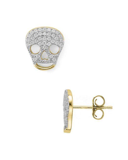 Aqua - Metallic Skull Stud Earrings - Lyst