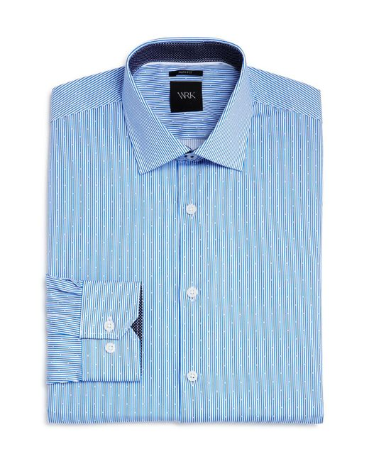 W.r.k. | Blue Dot Stripe Slim Fit Dress Shirt for Men | Lyst