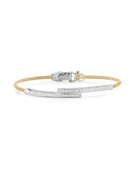 Alor | Metallic Cable Bangle With Diamonds | Lyst