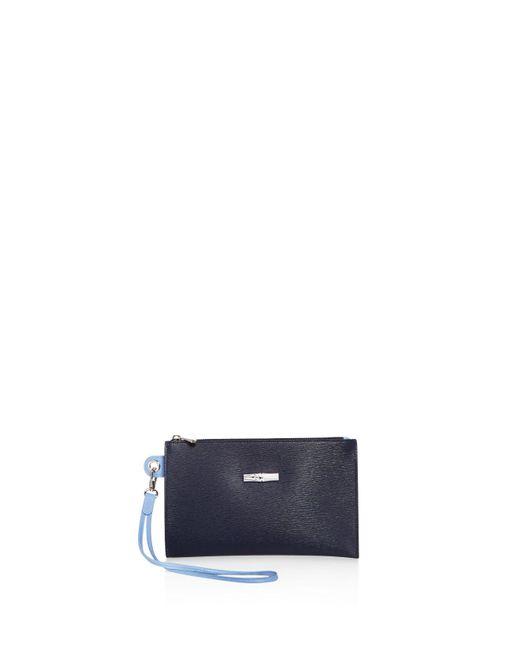 Longchamp   Blue Roseau Flat Leather Cosmetic Case   Lyst