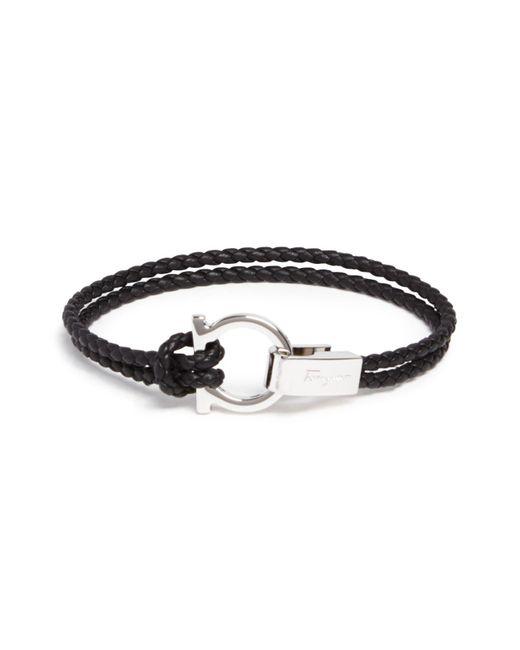 Ferragamo | Black Braided Double Wrap Bracelet With Gancio Closure | Lyst