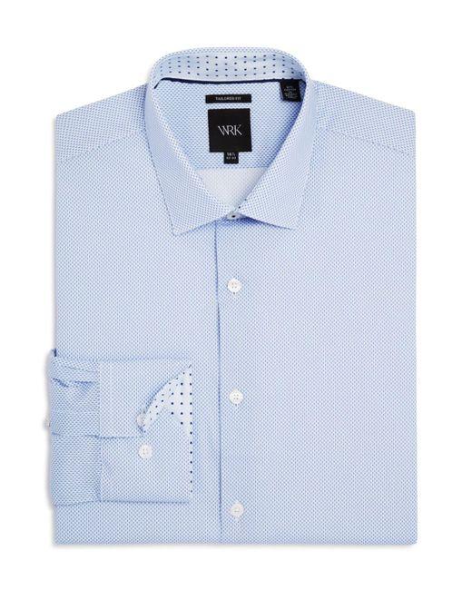 W.r.k.   Blue Shadow Dot Print Slim Fit Stretch Dress Shirt for Men   Lyst
