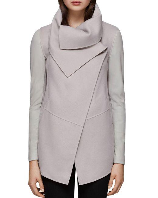 Mackage - Gray Vane Draped Wrap Leather-sleeve Coat - Lyst