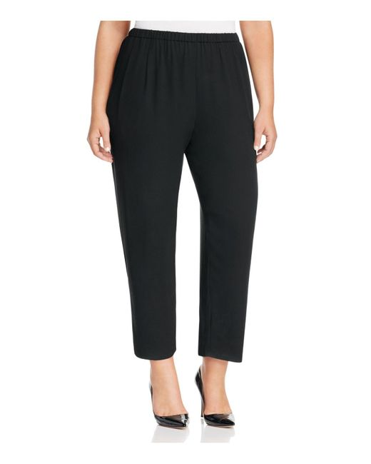 Eileen Fisher | Black Silk Straight Ankle Pants | Lyst