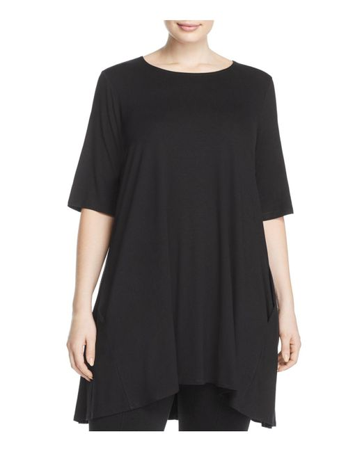 Eileen Fisher | Black Round Neck Tunic | Lyst