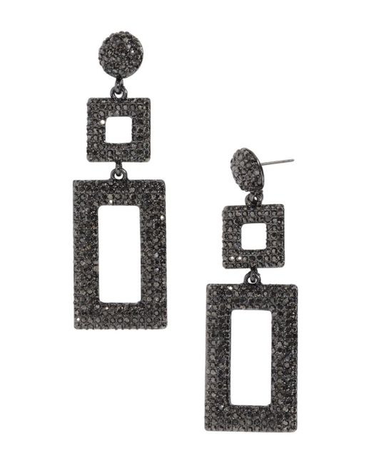BaubleBar - Gray Davalyn Pavé-encrusted Square & Rectangle Drop Earrings - Lyst