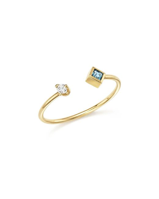 Zoe Chicco   Metallic 14k Yellow Gold Stacking Ring With Diamond And Aquamarine   Lyst
