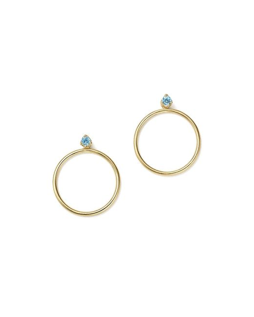 Zoe Chicco   Blue 14k Yellow Gold Hoop Earring Jackets With Aquamarine   Lyst