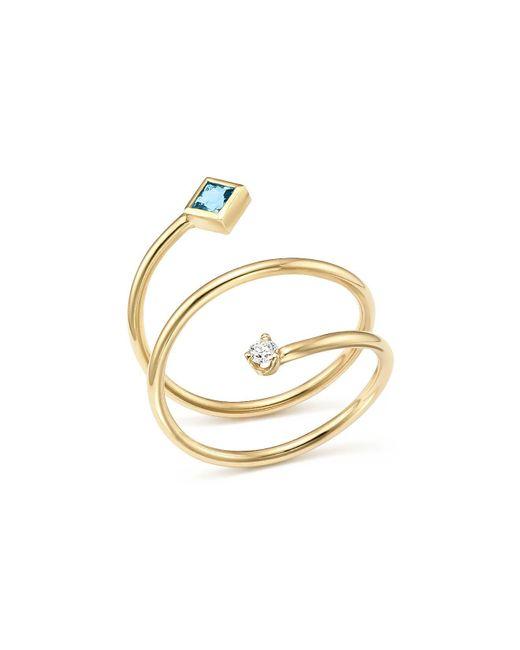 Zoe Chicco | Metallic 14k Yellow Gold Diamond And Aquamarine Wrap Ring | Lyst