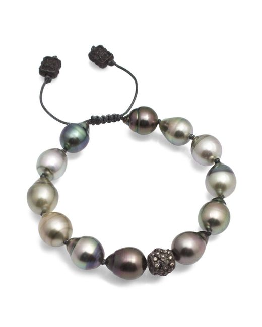 Armenta | Metallic Old World Midnight Tahitian South Sea Pearl And Champagne Diamond Beaded Cord Bracelet | Lyst