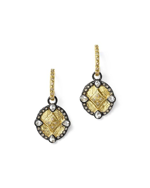 Armenta | Metallic 18k Yellow Gold And Blackened Sterling Silver Old World Diamond Oval Shield Drop Earrings | Lyst