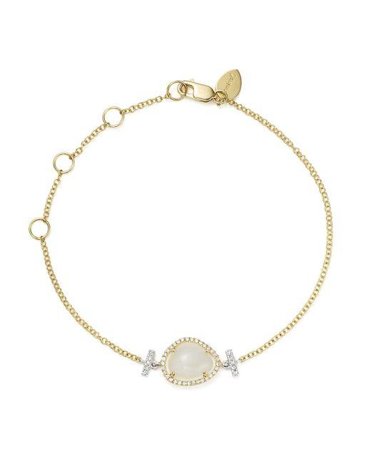 Meira T | Metallic 14k White And Yellow Gold Rainbow Moonstone And Diamond Bracelet | Lyst