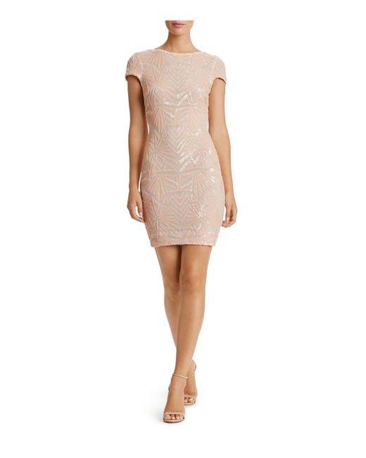Dress the Population   Natural Tabitha Embellished Short-sleeve Dress   Lyst
