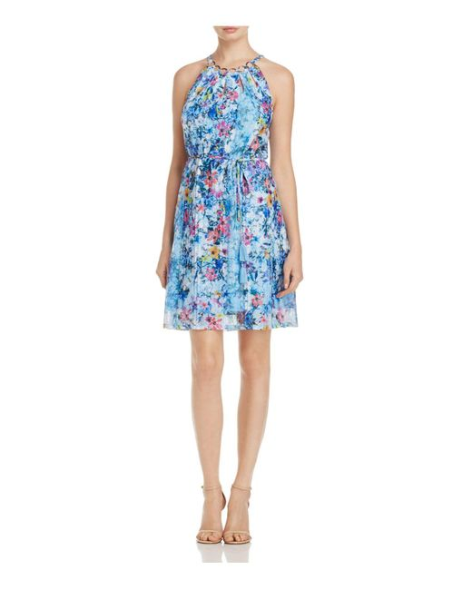 T Tahari | Blue Deborah Floral-print Dress | Lyst